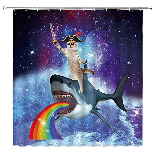 Xnichohe Funny Pirate Cat Shower Curtain for Bathroom,Cool Cat Riding Shark in Universe Galaxy Ocean Wave Nautical Polyester Cloth Fabric Curtains Decor Set with 12 pcs Hooks,70 x70 Inch