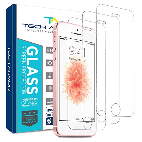 Tech Armor Apple iPhone 5 Ballistic Glass Screen Protectors for Apple iPhone 5C / 5S / 5 / Se [3-pack]