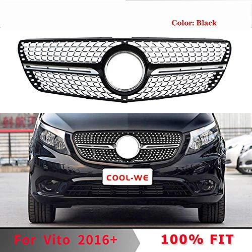 HYNB ABS Frontgrill Diamond Grille voor Mercedes Benz New W447 VITO 2015-2019, zwart, zwart