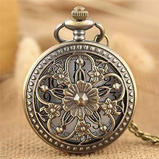 N\C Elegans blommor brons ihålig jägare fickur kvartsrörelse vintage utsökta damsmycken hänge klocka gåvor