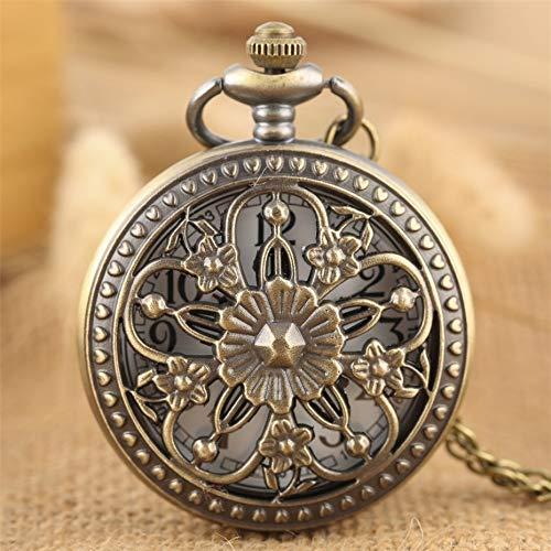 N\C Elegante Taschenuhr mit Bronze-Blumenmuster, Quarzwerk, Vintage, exquisiter Damen-Schmuck, Anhänger