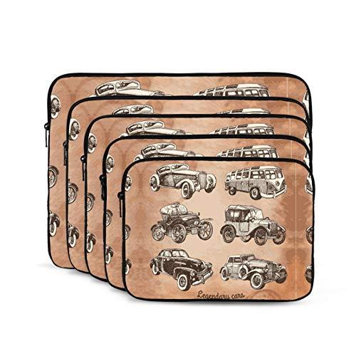 KUUDJIT Set of Retro Cars 12/13/15/17 Inch Laptop Sleeve Bag for MacBook Air 13 15 MacBook Pro Portable Zipper Laptop Bag Tablet Bag,Diving Fabric,Waterproof