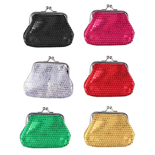 Iwinna 6pcs Coin Wallet Creative Shining Storage Bag for Girl Kid Child (Red, Green, Black, Silver, Golden, Rose Red)