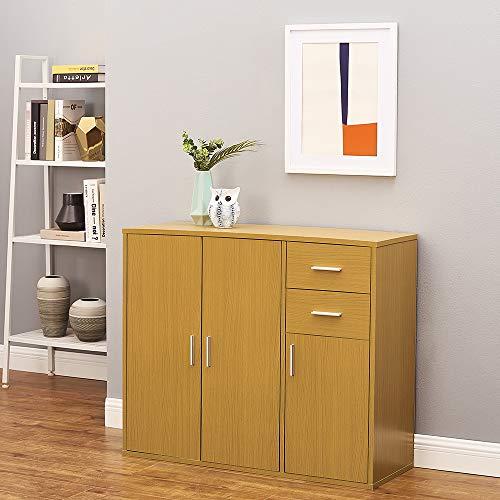 Panana Wooden 3 Door 2 Drawer Sideboard Modern Storage Cupboards Cabinet Unit for Living Room Bedroom Hallway W 100 * D 35.5 * H 83cm (Beech)