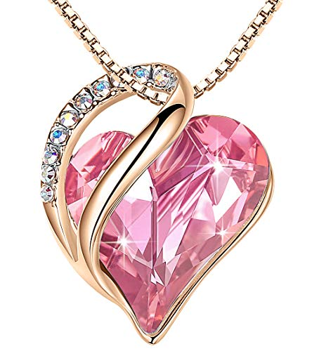 Leafael 18K Rose Gold Plated Love Heart Necklace with Rose Quartz Pink Healing Stone Crystal for Romatic Love, Jewelry Gifts for Women, 18'+2'