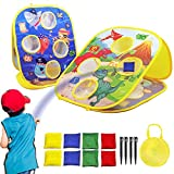 Foldable Kids' Cornhole Game Board with 8 Colorful Toss Bean Bags, Easy to Carry Outdoor/Indoor Toy, Dinosaurs & Marine Life Double-Sided, Backyard Activity for Kids Aged 2 3 4 5 Years Old