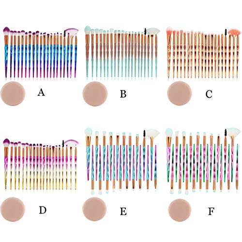 CRITY Make-up Pinsel, 20 Stück Professionell Make-up Anzug Flüssige Grundierung Augenbrauenstift Erröten Concealer-Bürste Schönheit Puff Werkzeug (A)