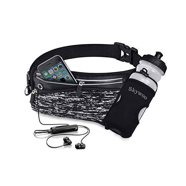 Skywoo Running Belt Waist Pack with Water Bottle Holder Fanny Pack Reflective Compatible...