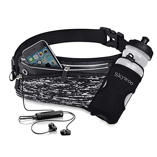 Skywoo Running Belt Waist Pack with Water Bottle Holder Fanny Pack Reflective Compatible for iPhone X/XS Max/XR, Waistband Travel Money Belt for Workouts, Cycling, Runner, Jogging
