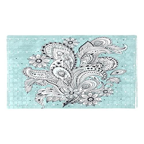 Alfombra de baño retro bohemia floral azul Boho Mat tina (70,9 x 39,9 cm) alfombra de baño para piso baño ducha Mat