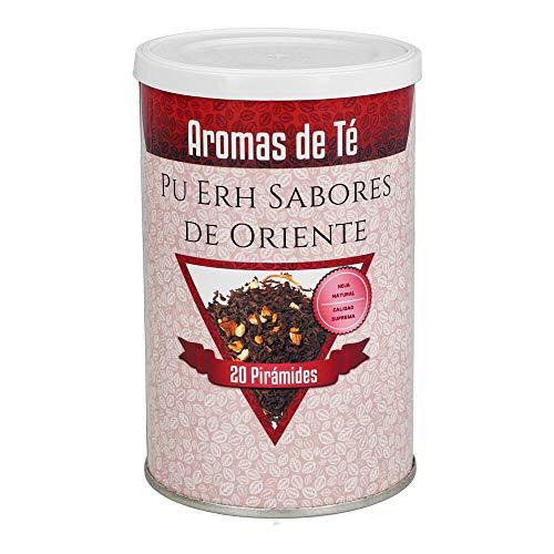 Aromas de té - Té Rojo Pu Erh - Con Canela, Jengibre, Cáscara de Naranja, Vainilla y Aromas -Los Mejores Sabores De Oriente - En Bolsitas - Sin Gluten - 20 Pirámides