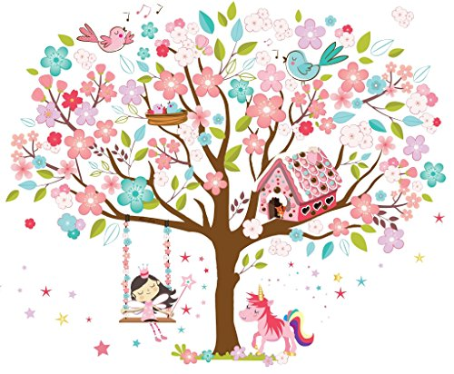 Kath & Cath Rainbow Unicorn, Pink Fairy, Gingerbread House, Singing Birds and Cherry Blossoms Tree Wall Stickers -Kids Girls Room Vinyl Removable Self-Adhesive Multi-colour Wall Mural Art Decoration by Kath & Cath