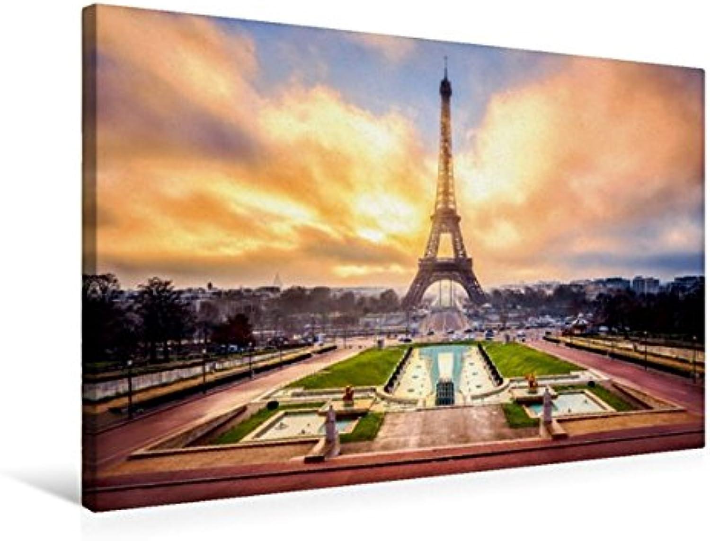 Calvendo Premium Textil-Leinwand 75 cm x 50 cm quer, Eiffelturm in Paris   Wandbild, Bild auf Keilrahmen, Fertigbild auf echter Leinwand, Leinwanddruck Orte Orte