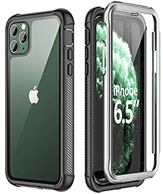 SPIDERCASE iPhone 11 Pro Max Case, Built-in Screen Protector Full Heavy Duty Protection Shockproof Anti-Scratched Rugged Case for iPhone 11 Pro Max 6.5 inch 2019 (Black+Clear)
