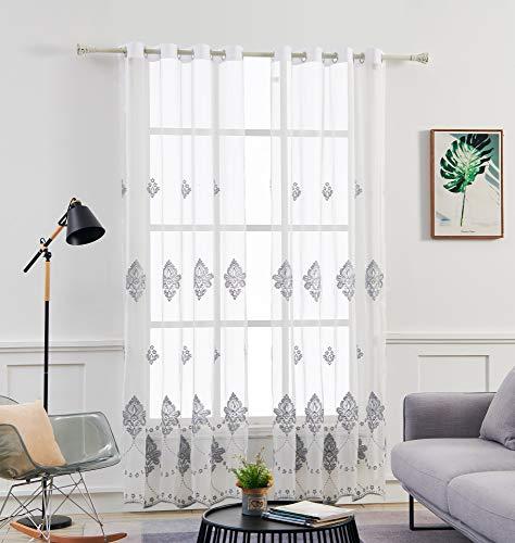 M&W DasDesign Cortina transparente con ojales para salón, diseño barroco, flores, bordada, gris, para protección solar y visual, 140 x 245 cm, color blanco (1 unidad)