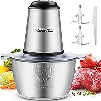 yissvic tritatutto da cucina elettrico, 2l 500w tritatutto elettrico frullatore multifunzione con ciotola in acciaio inox, per frutta verdura carne, 4×2 lame