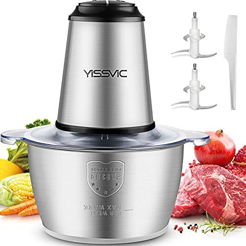 YISSVIC Picadora Eléctrica Picadoras de Carne Verduras y Frutas Minipicadoras de Alimentos 500W y Capacidad 2L con 2 Cabezales y 8 Cuchillas