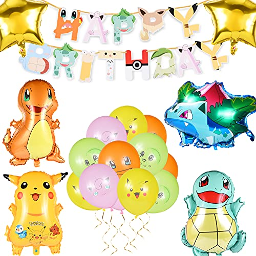 Decoraciones de Fiesta de Cumpleaños de Dibujos Animados,  Globos de Banner pue Pueden ser Utilizados por Adultos y Niños,  Y otras Decoraciones de Fiesta de 19 Piezas