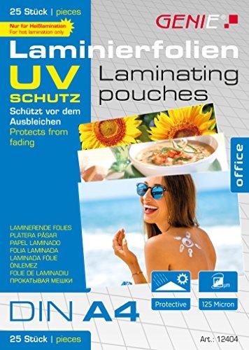 Fundas para plastificar Genie (DIN A4, con protección UV, 125micras, resistentes a rayos ultravioleta y de la radiación) 25unidades