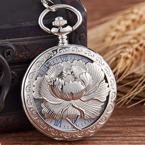 Reloj de Bolsillo, Reloj de Bolsillo mecánico con Grabado Hueco, Elegante Estuche abatible, Regalos Retro de Cuerda Manual para Hombres y Mujeres Plateado
