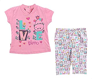 lumex Front Print Cap Sleeves T-Shirt with Elastic Waist Pants Pajama Set for girls