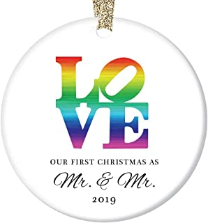 LOVE Gay Marriage 2019 Christmas Tree Ornament Wedding Present Groom Newlyweds Our First 1st Holiday Married Mr & Mr Husband Rainbow Ceramic Keepsake 3