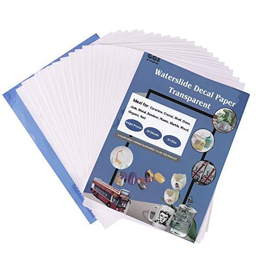 A4 20 Blatt Waterslide Decal Papier für Tintenstrahldrucker, DIY Transferpapier für Home Office Crafts, weiß/transparent