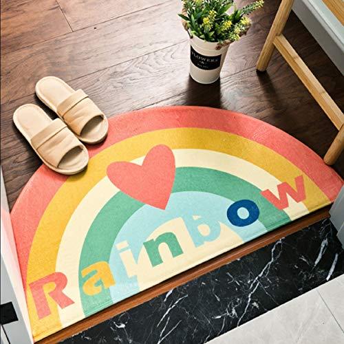 YUTOU Alfombra Semicircular Puertade,Piso Felpudo semicircular Antisuciedad Antideslizante Modernas Simple Estilo para Exterior,Baño,Jardín (Color : Love Rainbow, Size : 75 * 150cm)