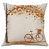 Gspirit 4 Stück Kissenbezug Herbst Ahornblatt Muster Dekorative Kissenhülle Baumwolle Leinen Werfen Sie Kissenbezüge 45x45 cm - 5
