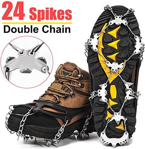 Wirezoll stijgijzers, schoenen, met 24 roestvrij stalen tanden en siliconen band, antislip op ijs en sneeuw voor wandelen, bergschoenen, laarzen, enz. (zwart, L)