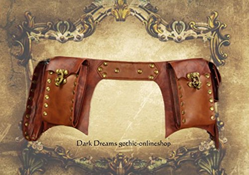 Dark Dreams Steampunk Larp Mittelalter Gürtel – Tasche Waistbag 'Steam' braun, Größe:S - 4
