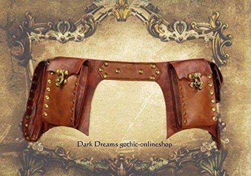 Dark Dreams Steampunk Larp Mittelalter Gürtel – Tasche Waistbag 'Steam' braun, Größe:L - 4