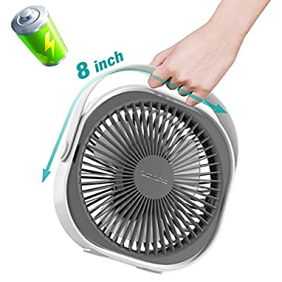 LaHuko 8 Inch Desk Fan Ultra Silent USB Fan Rechargeable Personal Fan Portable Fan 360° Adjustable 3 Modes Lightweight Strong Wind Quiet Table Fan with Handle for Travel Office Room Household (White)
