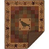 VHC Brands Heritage Farms Crow and Star Cotton Primitive Decor Rod Pocket Pre-Washed Patchwork Throw, Burgundy Red