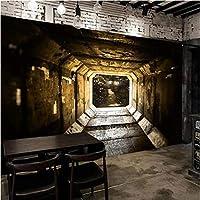 Iusasdz カスタム壁画壁紙3Dステレオスペース拡張通路フレスコレトロパーソナリティレストランカフェKtvバー3D壁画-350X250Cm
