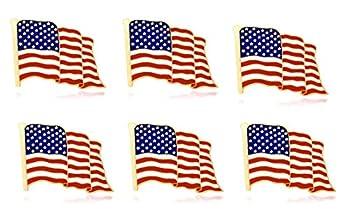 6-Pack Metal American Flag Lapel Pins Waving US USA Pins Bulk United States Patriotic Pins Series Veterans Day