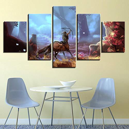 Gxucoa Leinwanddrucke Leinwand Gemälde Wandkunst 5 StückeArcher Poster Hd Drucke Anime Bilder Living Home Room Decor