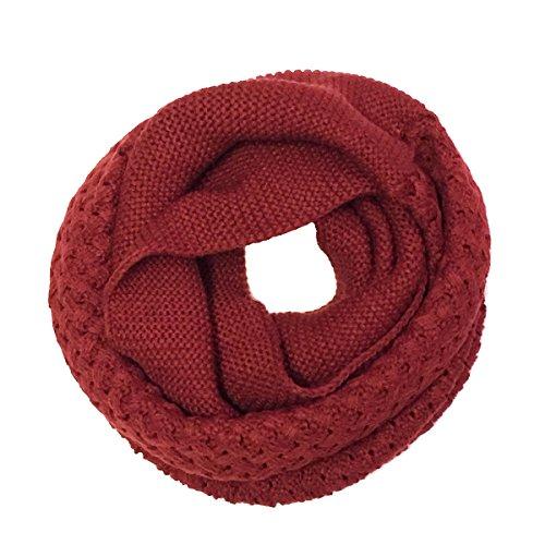 Wrapables Trendy Winter Warm Knit Infinity Scarf, Burgundy