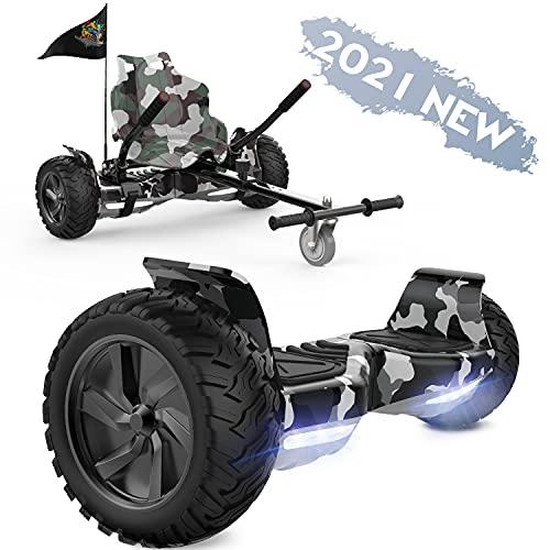 FUNDOT Hoverboard con Sedile,Hoverboard per Tutti i Terreni con hoverkart,Scooter autobilanciato da 8,5 Pollici per Go Kart, hoverboards Fuoristrada con Altoparlante Bluetooth, LED