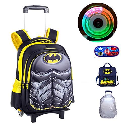 MODRYER Kinder Rucksack Superheld Schultasche Primarschüler Rucksack Schüler Daypack Kid Trolley Gepäck 2 Rad mit Licht,Batman-43 * 32 * 22cm