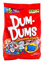 Dum Dums lollipops variety bag with 200 colorful lollipop candies and 16 delicious flavors plus the mystery flavor Every color lollipop candy is gluten free, kosher certified and free of major allergens Party assortment bag perfect for decorating and...