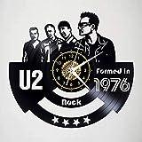 SKYTY Rock Band U2 Reloj De Pared con Registro De Vinilo Negro Retro Decoración para...