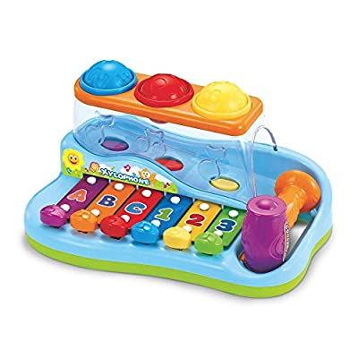 Baby Xylophone Instrument w/ Play Blocks – Pull 'n Play Xylophone Baby Toy Includes Mallet and 6 Puzzle Play Blocks for Babies – Great Toddler Musical Instruments Gift for Kids 18 Months and Older