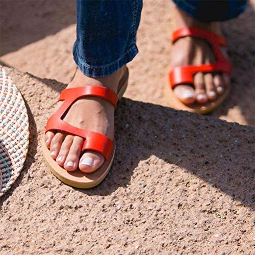 QLIGHA Sandalia de Viaje de Playa con Punta Abierta y Plana para Mujer, Sandalias de corrección de Dedo Gordo, Zapatos correctores de juanetes ortopédicos, Rojo, 39