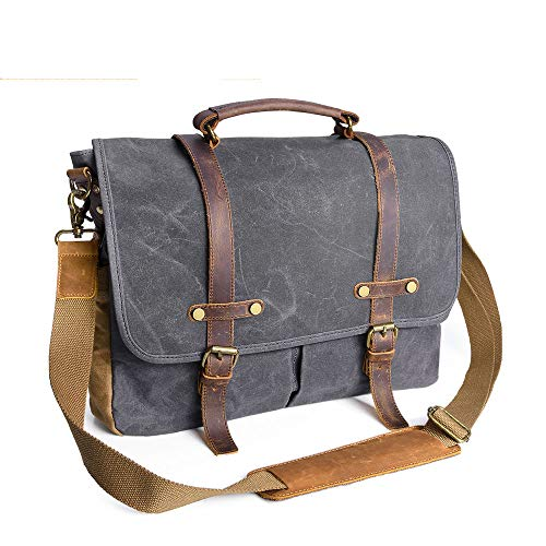 Mens Messenger Bag Vintage Waxed Canvas Leather Briefcase Bag