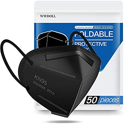 Black KN95 Face Mask - 50 Pack, WWDOLL New GB2626-2019 KN95 Mask 5-Layer Breathable Cup Dust Mask Black by