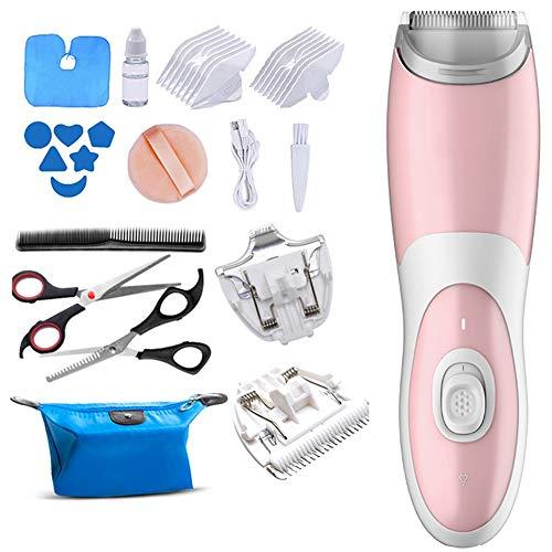 Baby-tondeuse, tondeuse voor kinderen Elektrische stille tondeuse voor kinderen Stille snijmachine voor jongens en meisjes,Pink