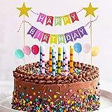 Decorazione per Torta, Happy Birthday Cake Topper Bunting Banner per Ragazzi Ragazze Decorazione per Torte di Compleanno, Arcobaleno Palloncini Cupcake Toppers per Bambini Compleanno Forniture Feste