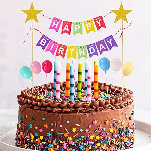 Happy Birthday Decoración para Tarta, Feliz Cumpleaños Adornos Tartas Bunting Banner Banderines para Niñas Niños Decoración de Pastel Cumpleaños, Arco Iris Globos Cake Topper Suministros para Fiestas