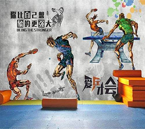 LUOJIE Tischtennis im Fitnessstudio 3D DIY Premium Print Wandbilder Artwork Wanddekorationen Foto Wallpaper Vlies Poster Bild Design Modern High Resolution 250cmx175cm